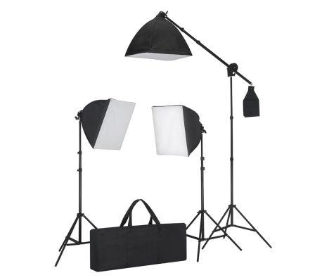 Vidaxl studioset met 3 fotolampen statief softbox for Foto lampen